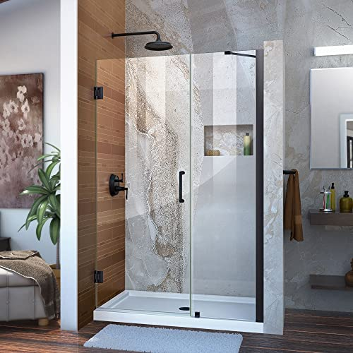 DreamLine Unidoor 47-48 in. W x 72 in. H Frameless Hinged Shower Door with Support Arm in Satin Black, SHDR-20477210-09