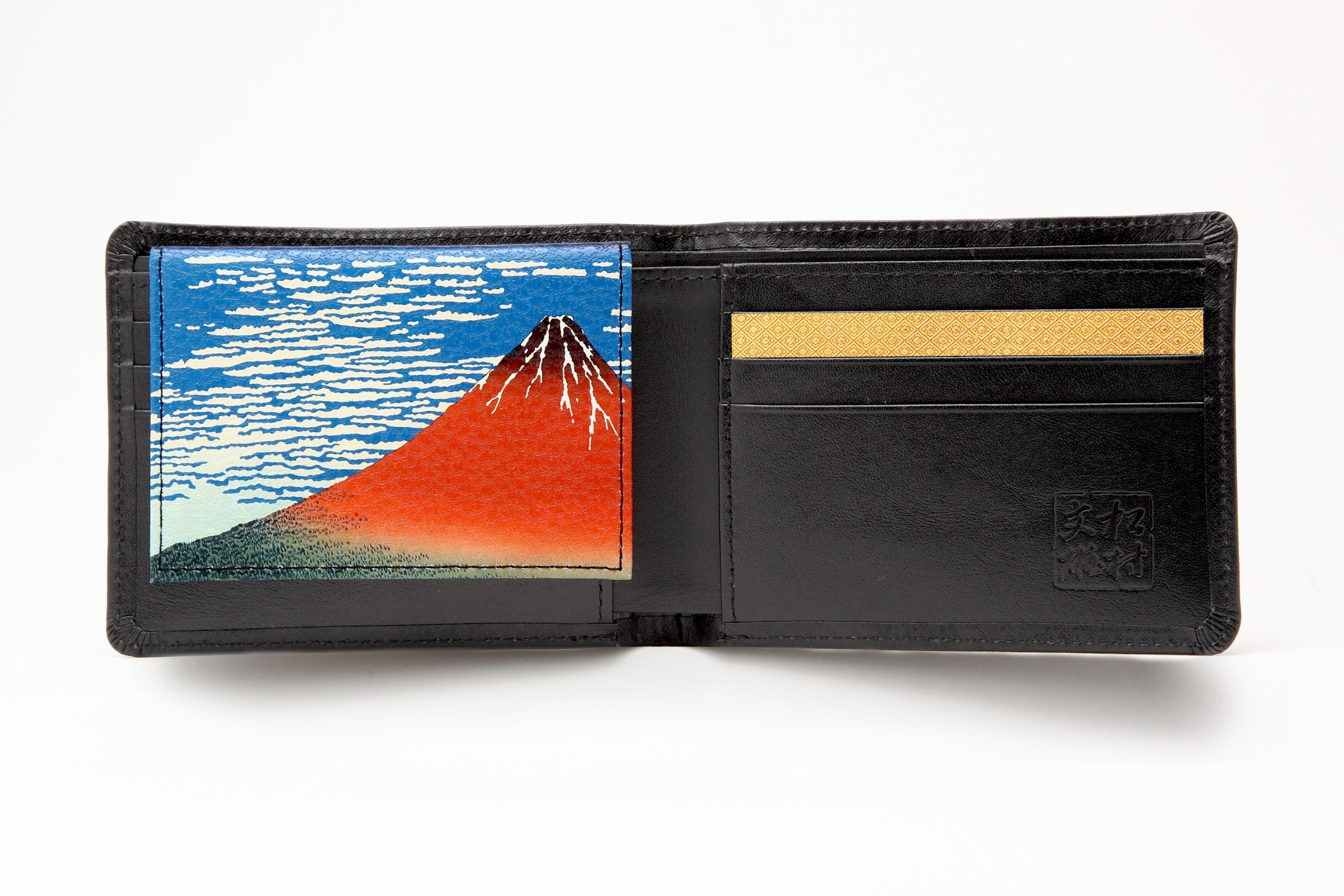 Matsumura Fumio Production: Men's Two Bi-fold Cowhide Wallet/fine Wind, Clear Morning (Id Case with a Japanese-style Painting) (Black Seal/gold/fine Wind, Clear Morning)