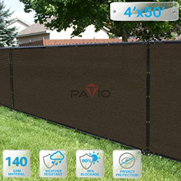 Patio Paradise 4u0027 X 50u0027 Brown Fence Privacy Screen, Commercial Outdoor  Backyard Shade