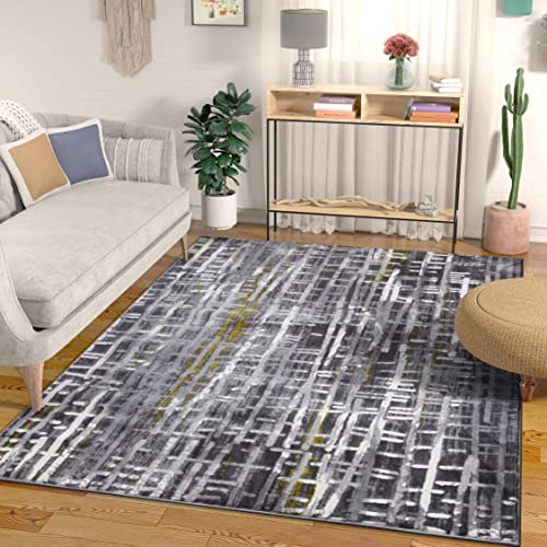 Borough Grey Yellow Modern Geometric High-Low Pile Area Rug 8×10 7'10″ x 9'10″ Abstract Washed Out Boxes Carpet