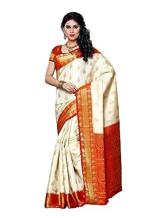 d86ea587c9 Mimosa Women's Silk Saree (225-Hwt-Red,Off White,Free Size): Amazon ...