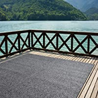 iCustomRug Indoor/Outdoor Turf Rugs and Runners Artificial Grass Many Custom Sizes and Widths Finished Edges with Binding Tape Black and Grey 4' x 6'