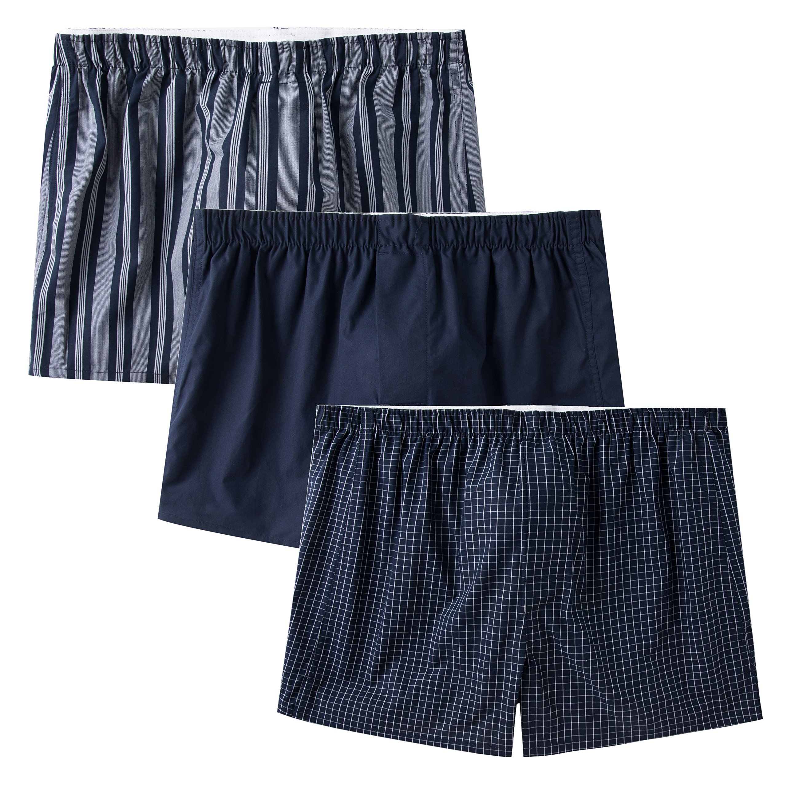 CYZ Men's 100% Cotton Classic Woven Boxers 3 Packs-StripeTideBluePlaid-XL