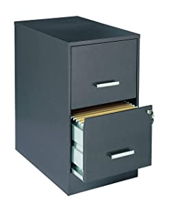 "Office Dimensions 16871 Deep 2 Drawer Letter-Sized Metal File Cabinet 22"", Charcoal"
