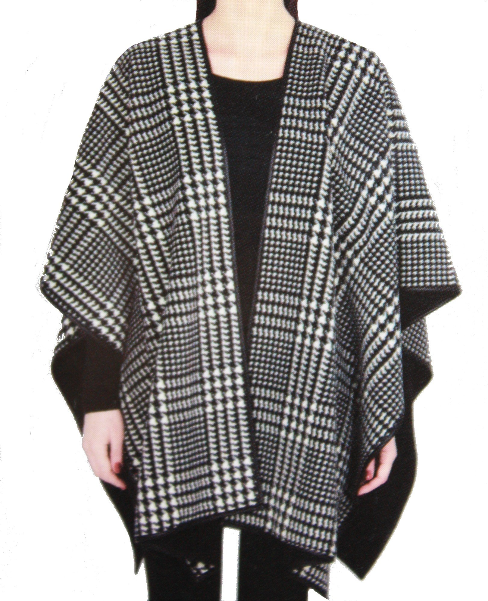 Ike Behar Reversible Fashion Wrap, Black and White Plaid