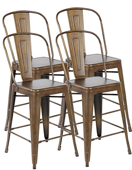 Eurosports Tolix Style Chair 3007 AC 4 Metal Stackable Bistro Cafe Bar  Stools With