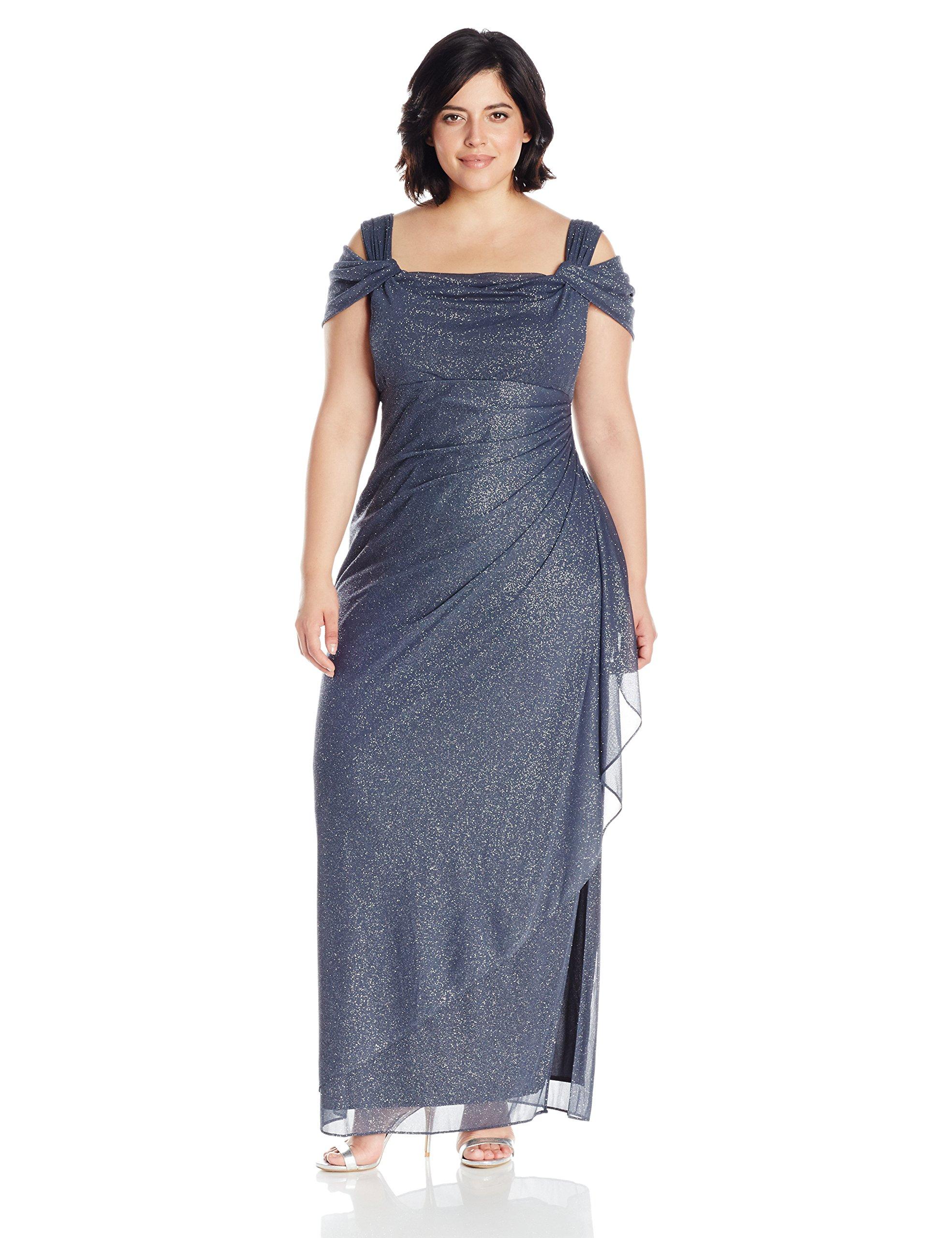 Alex Evenings Women's Plus Size Long Cold Shoulder Dress, Smoke, 18W by Alex Evenings