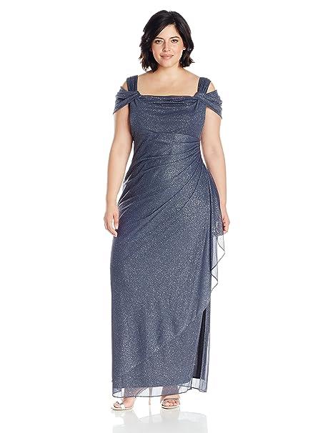 0b9ec049f7 Alex Evenings Women s Plus Size Long Cold Shoulder Dress  Amazon.ca   Clothing   Accessories