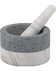 Davis & Waddell DES0188 Akin Granite/Marble Mortar & Pestle, Beige/Grey