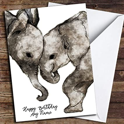 Amazon Watercolour Elephants Simple Personalized Birthday Card Office Products