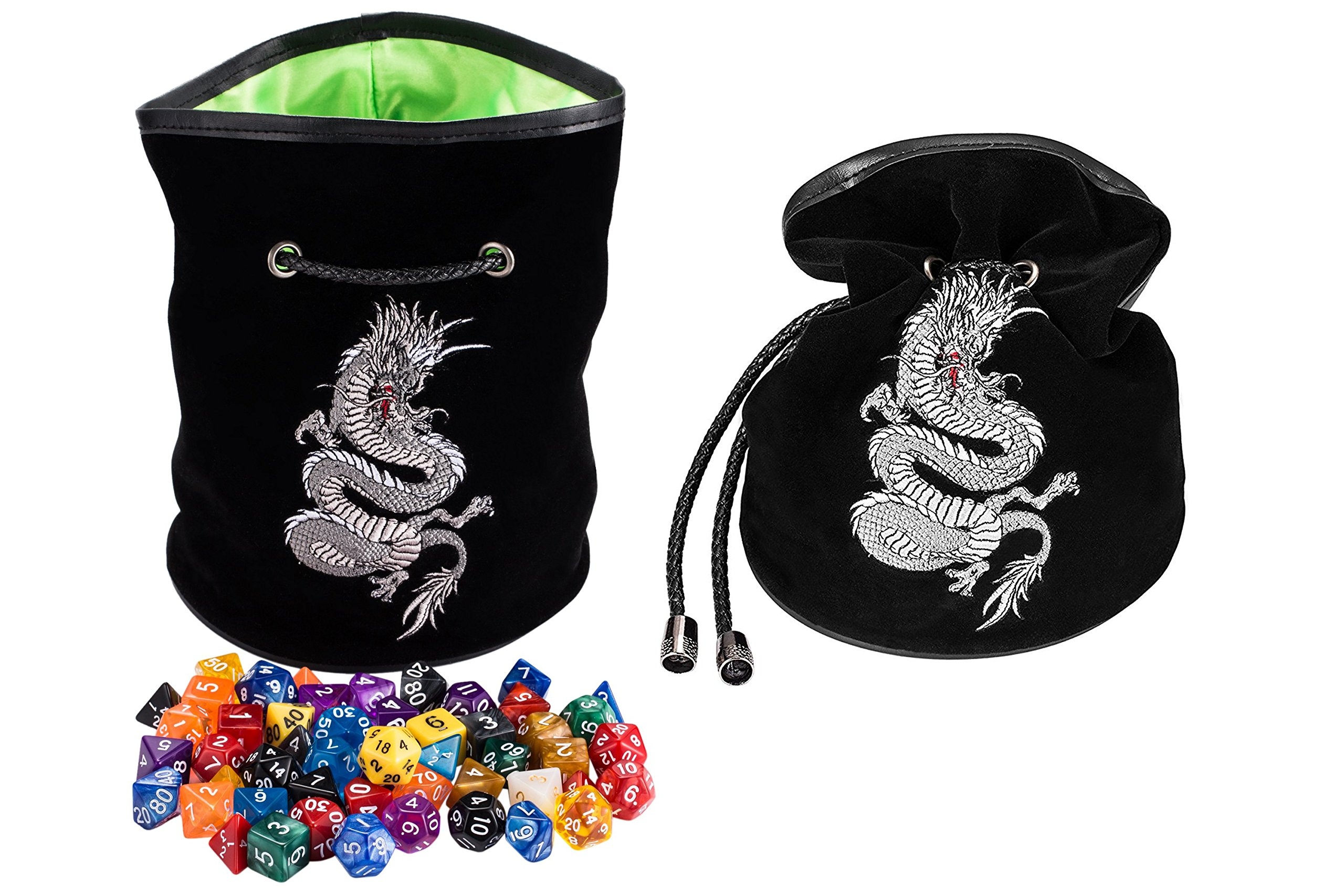 Rogues & Knaves large dice bag embroidered with Platinum Dragon. Ideal for D&D, MTG, RPG. Ideal DND gift. 6 internal pockets for extra dice sets. Stays open during gameplay, cinches tight for travel.