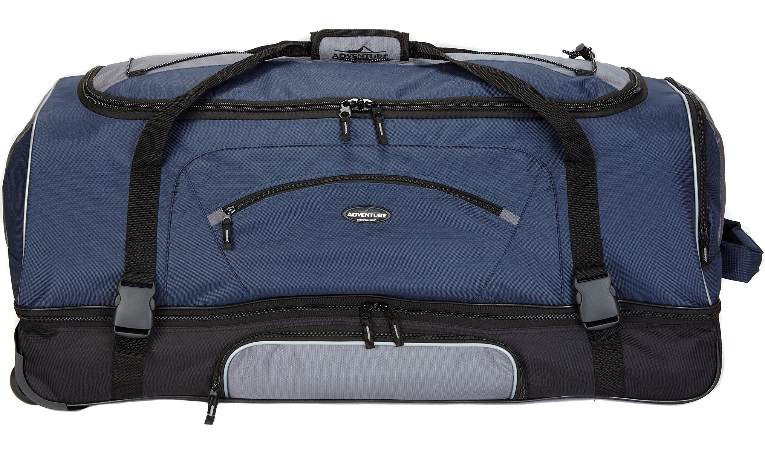 36'' Adventure by Travelers Club Luggage Rolling 2-Tone Multi-Pocket X-Large Packing Capacity Duffel with BONUS Bottom Compartment, Navy and Gray Color Option