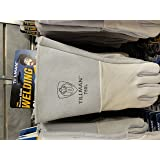 """John Tillman and Co 750L 14"""" Top Grain Elk Cotton/Foam Lined Welders Gloves with Straight Thumb, Stiff Cowhide Cuff, Welted Fingers, Kevlar Stitching and Pull Tab (Carded), Large, Pearl Gray"""