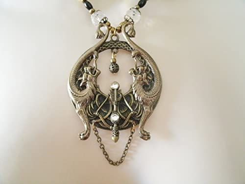 Gothic Steampunk Silver Filigree Coin charm pendant necklace