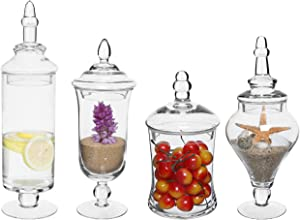 MyGift Set of 4 Clear Glass Apothecary Jars/Wedding Candy Serving Canisters/Decorative Small Storage Bottles