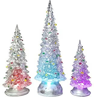 Amazon banberry designs led lighted acrylic christmas trees christmas tree led set of 3 acylic xmas trees with painted colorful ornaments coloring workwithnaturefo