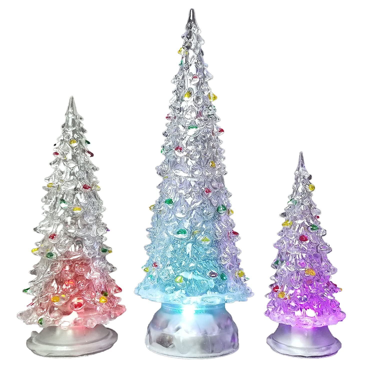 Banberry Designs Christmas Tree Led Set Of 3 Acylic Xmas Trees With Painted Colorful Ornaments Coloring Changing Tabletop Tree Decorations