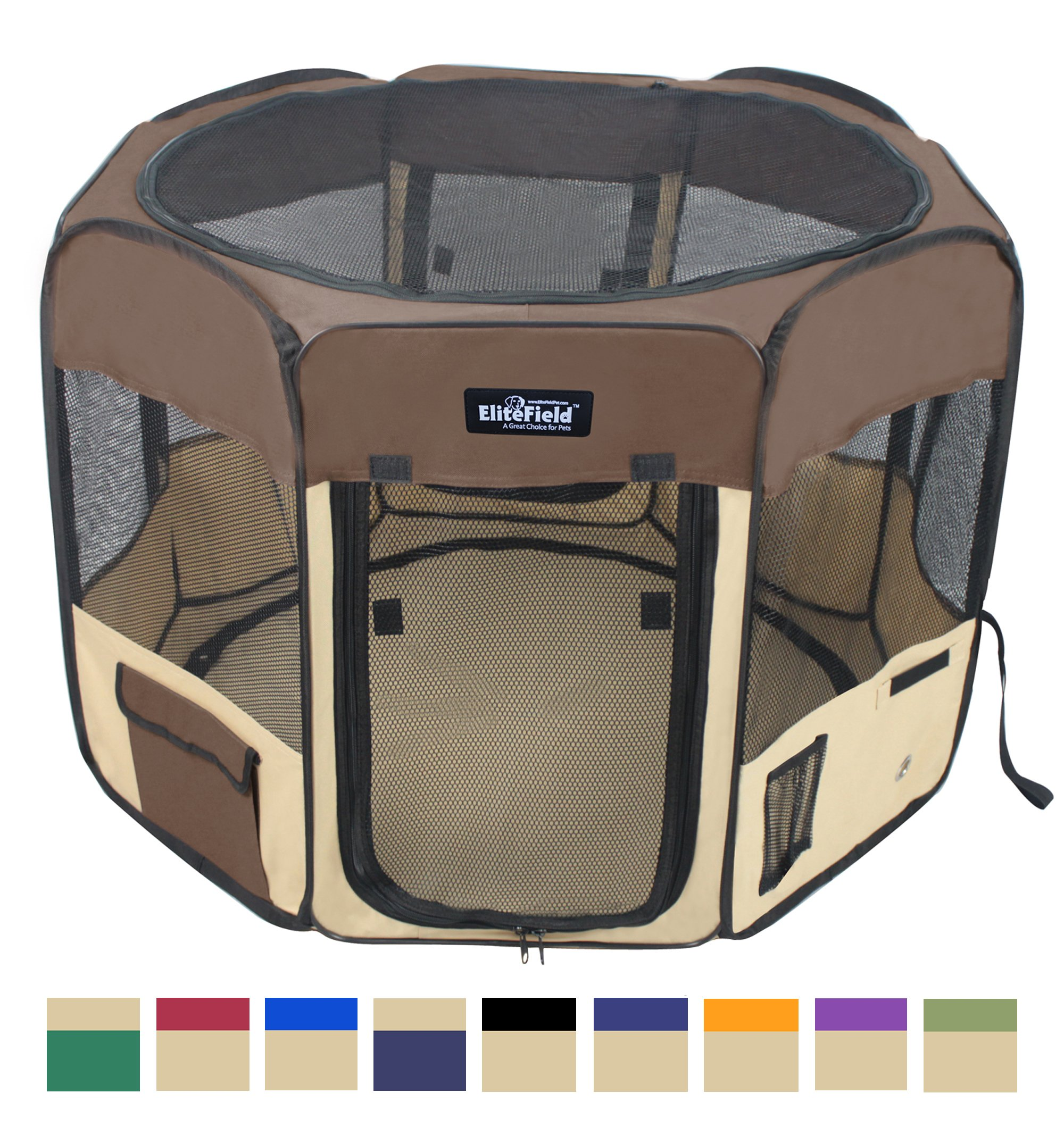 EliteField 2-Door Soft Pet Playpen, Exercise Pen, Multiple Sizes and Colors Available for Dogs, Cats and Other Pets (48'' x 48'' x 32''H, Brown+Beige)