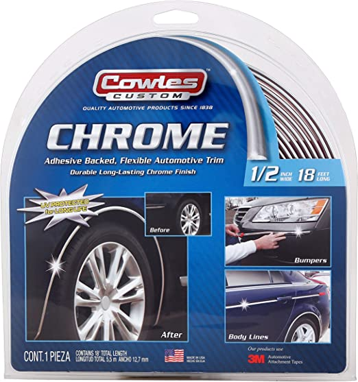 12 Feet Chrome Finish 5//8 Inches Auto Body Molding Trim and Wheel Well Trim