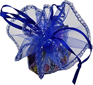 Ankirol 100pcs Sheer Organza Favor Bags Round Drawstring Organza Jewelry Candy Pouch 26cm/10.2 inch Diameter Christmas Wedding Party Favor Gift Packaging Bags (Royal Blue)