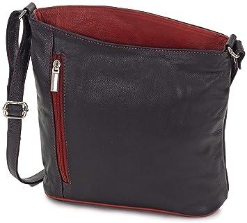 7595d76206886 Taschenloft - kleine Umhängetasche für Damen aus Leder schwarz rot - Tasche  zum umhängen mit Reißverschluss