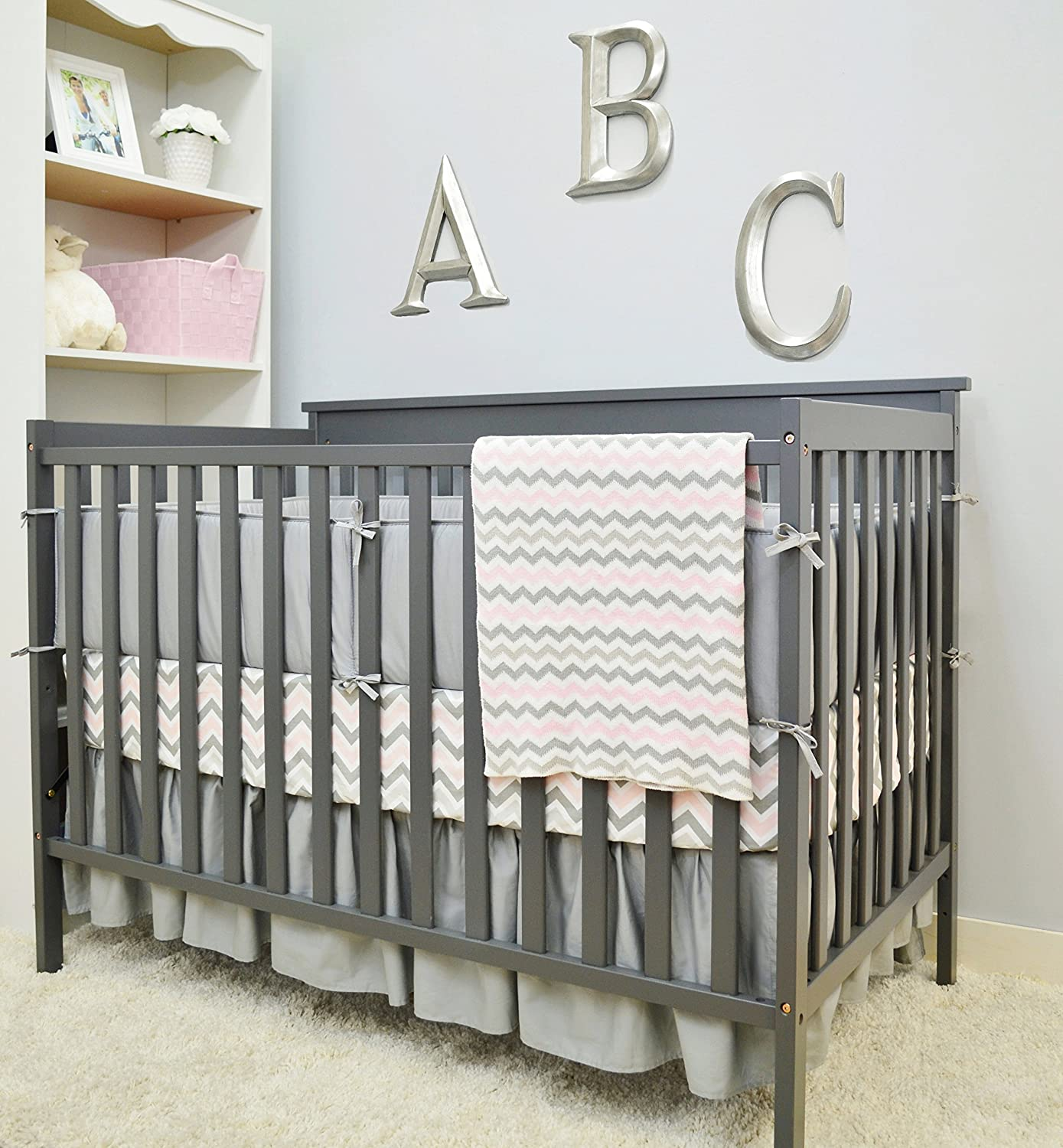 Zigzag Grey for Boys and Girls American Baby Company Cotton Percale Crib Bumper