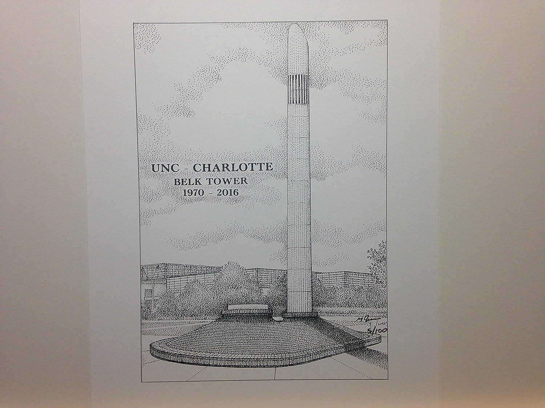 University of North Carolina at Charlotte - Belk Tower 8x10 pen and ink print
