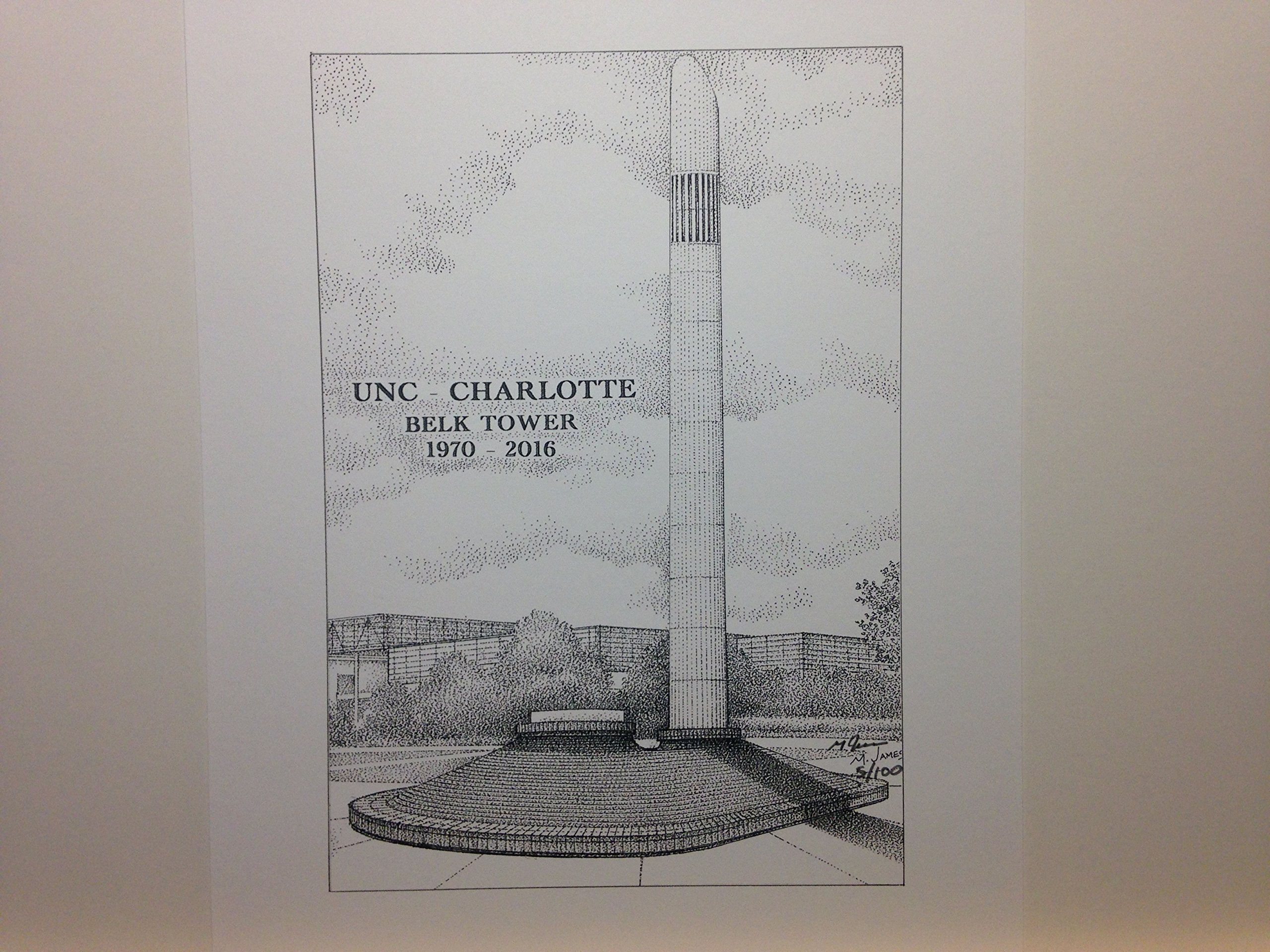 University of North Carolina at Charlotte - Belk Tower 8''x10'' pen and ink print