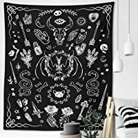 Witchy Gothic Tapestry Witchcraft Wicca Mystical Moth Moon Skulls Spooky Magic Witch Kit Black White Wall Hanging Goth…