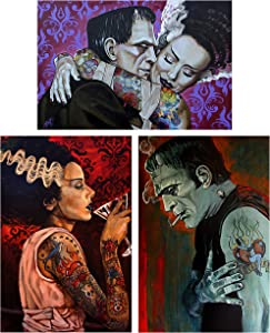 Frankenstein & Bride Monster Love by Mike Bell Tattoo Set of 3 Wall Art Prints