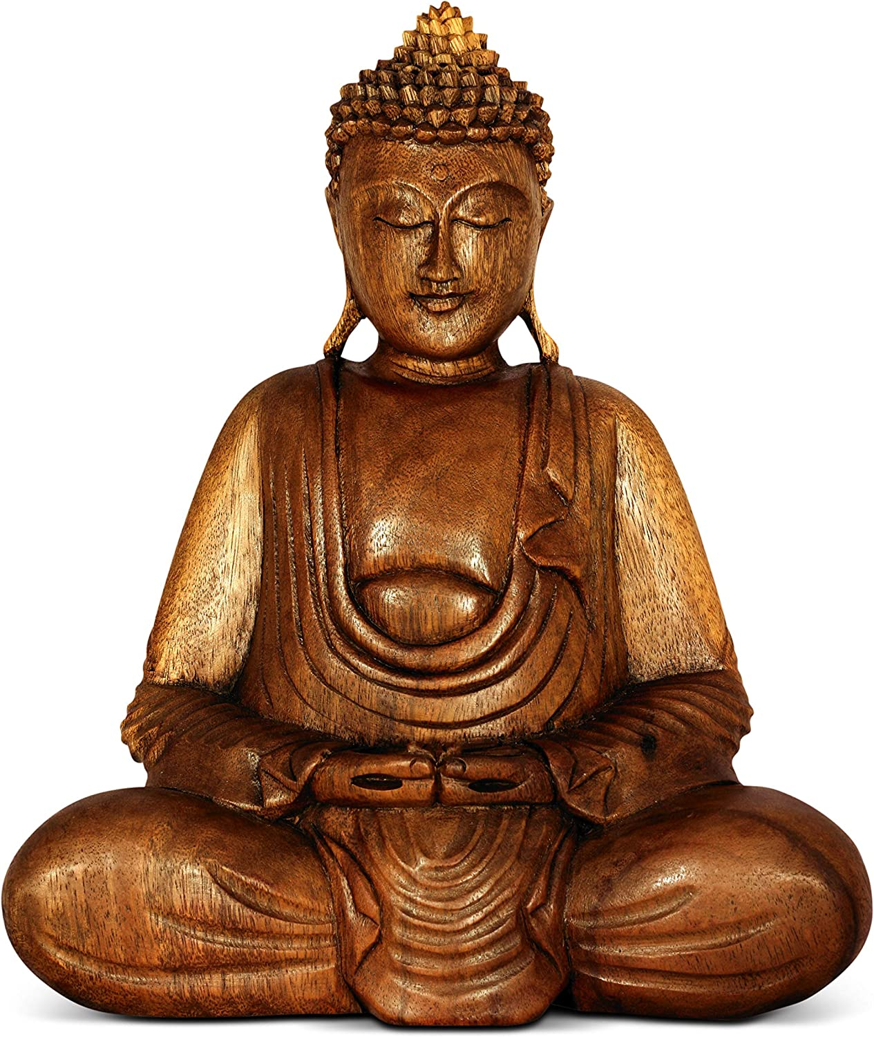 G6 COLLECTION Wooden Serene Sitting Buddha Statue Handmade Meditating Sculpture Wood Figurine Decorative Accent Handcrafted Traditional Modern Contemporary Oriental Decor Hands In Lap Buddha (8