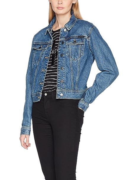 Calvin Klein Jeans Rocket Jacket-Star, Chaqueta Vaquera para Mujer, Azul (Stark Blue), X-Small: Amazon.es: Ropa y accesorios