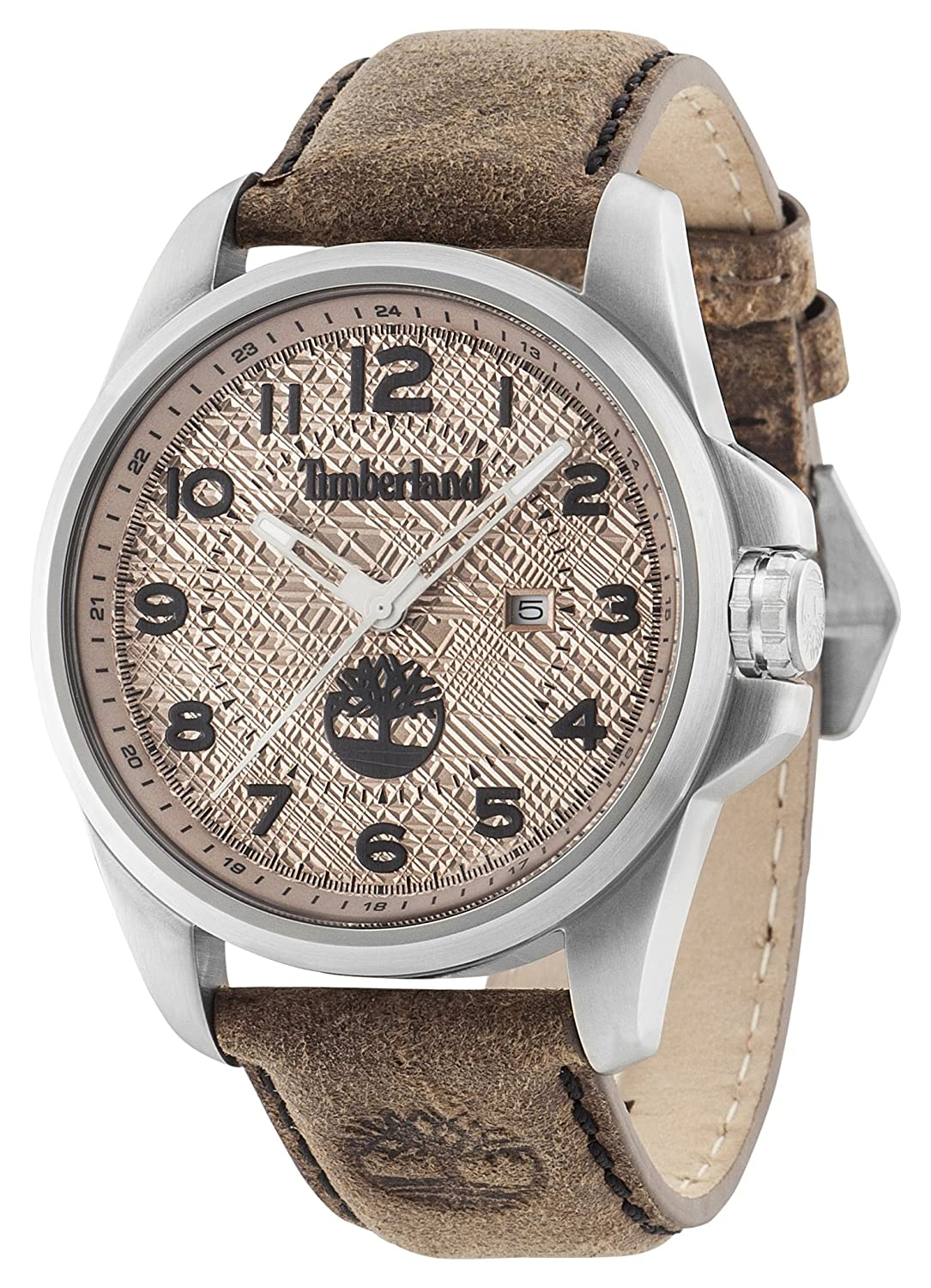 Timberland Leyden Men s Quartz Watch with Beige Dial Analogue Display and  Dark Brown Leather Strap 14768JS 07  Amazon.co.uk  Watches 5ae85f52f0