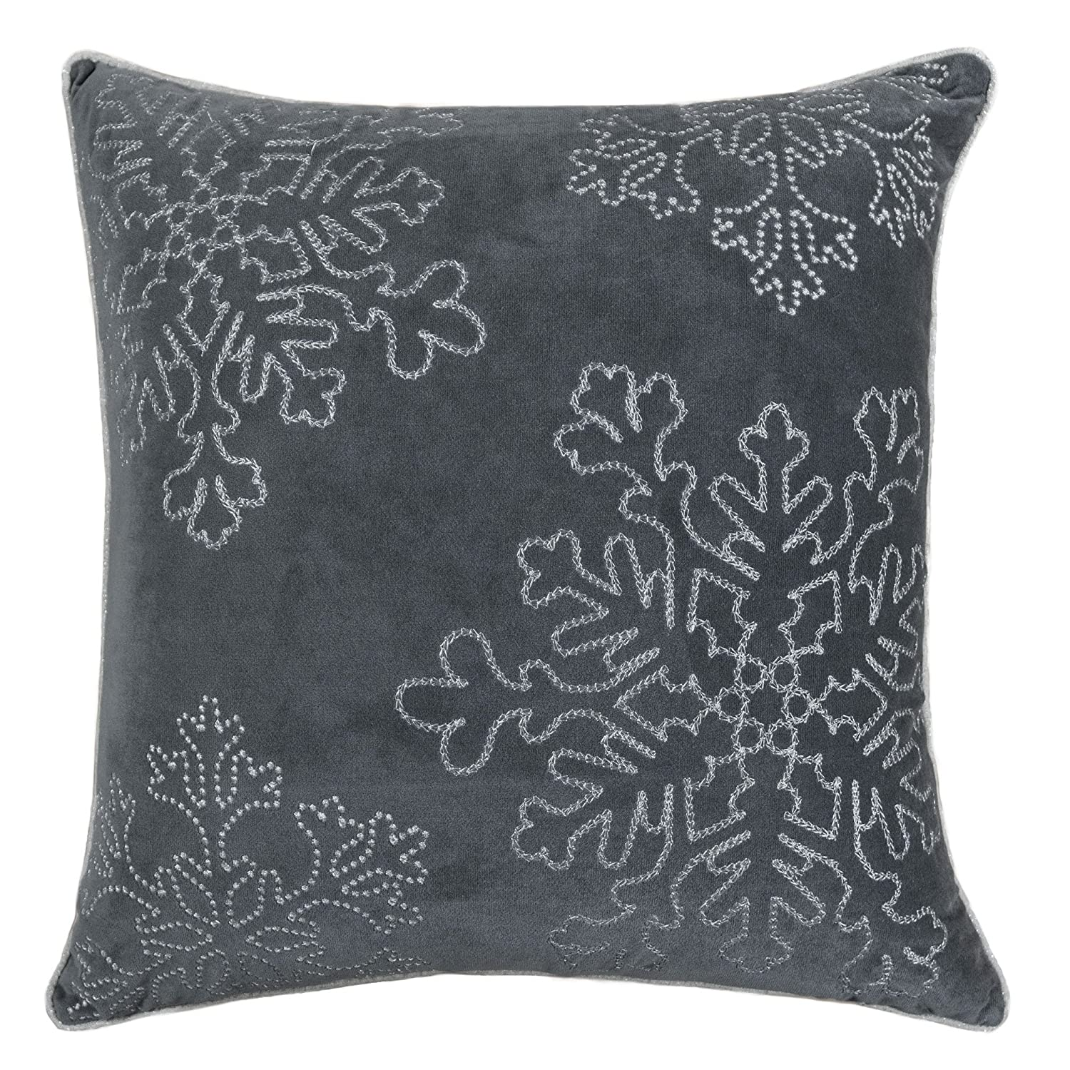 shop amazoncom  decorative pillows - homey cozy embroidery gray velvet throw pillow cover merry christmasseries snowflake luxury soft fuzzy