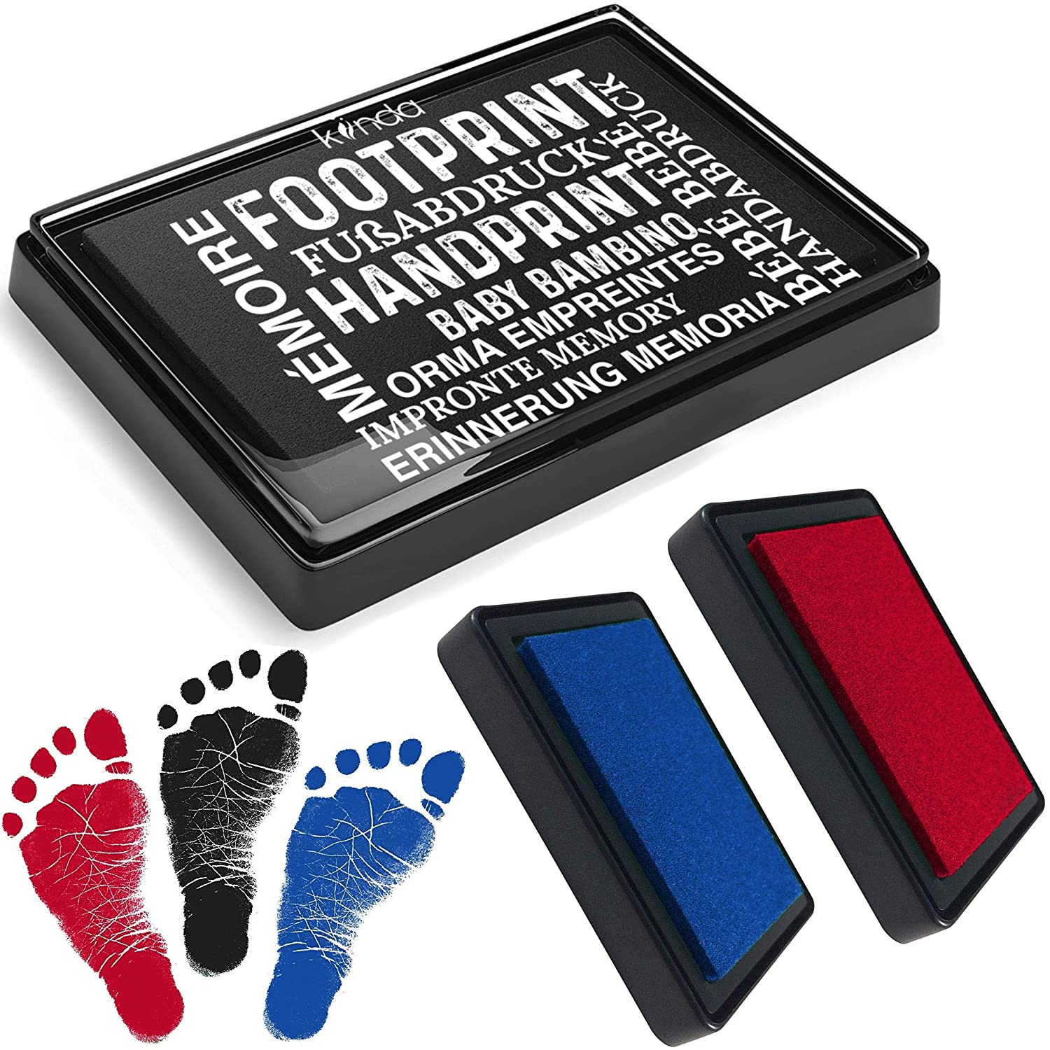 Baby Ink Pad Handprint Footprint Newborn Kit Print Stamps Reusable Feet Hands Stamps 100 Non-Toxic, Acid-Free Smudge-Proof Designs Ideal Family Memory Black Blue Red