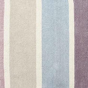 Homescapes 100 Cotton Chenille Stripe Rug Blue Beige