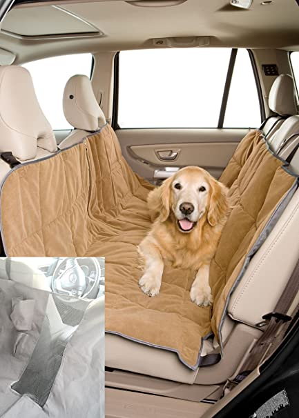 Medium image of pet travel hammock dog car seat cover microvelvet sand