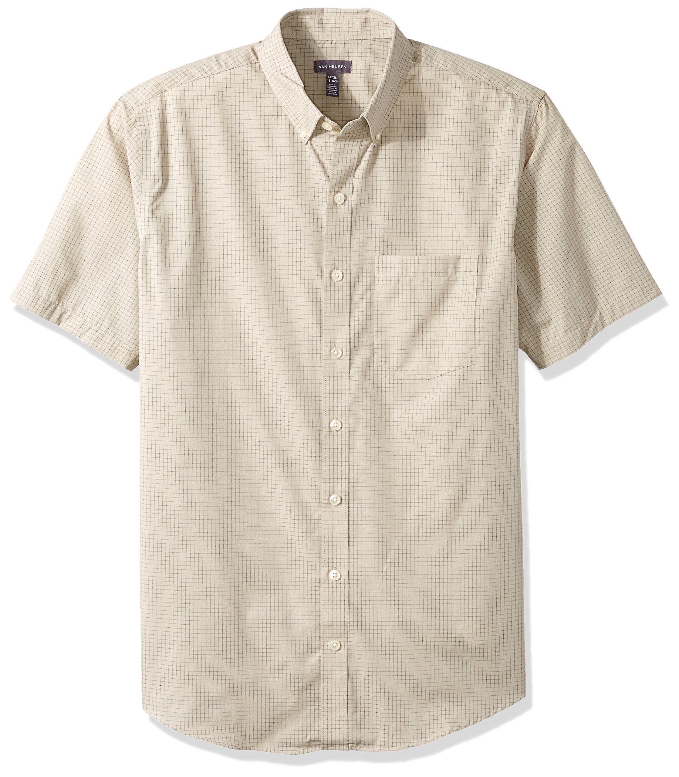 Van Heusen Men's Size Big Wrinkle Free Short Sleeve Button Down Shirt, Aluminum, 4X-Large Tall