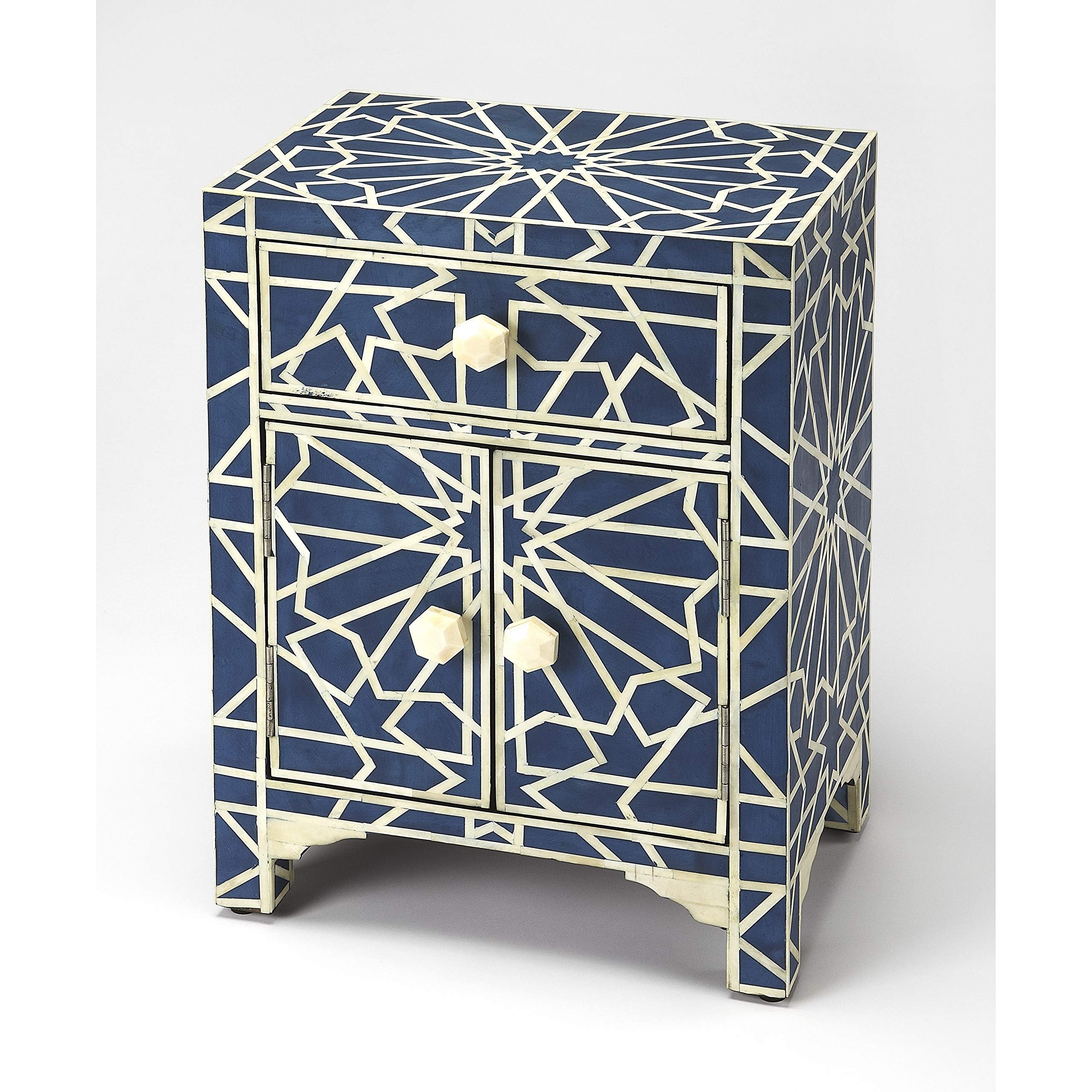 Camile Transitional Rectangular Blue Bone Inlay Accent Chest Rectangle MDF Resin Distressed Finish by Unknown