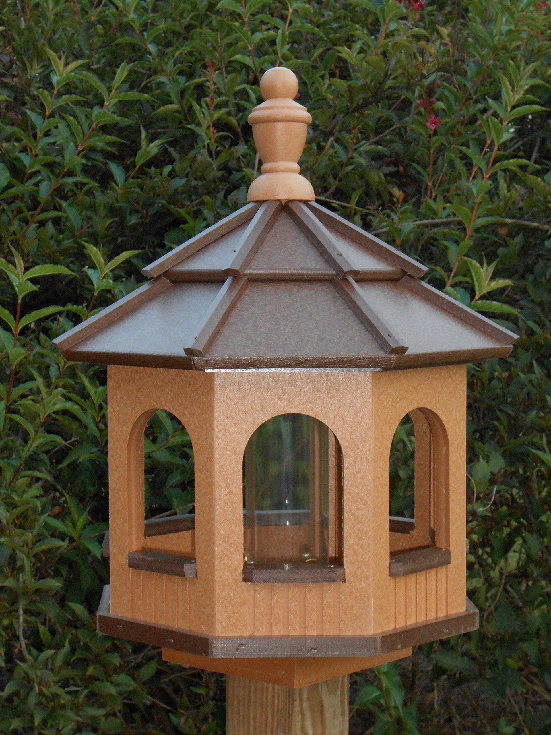 Vinyl Gazebo Bird Feeder Amish Homemade Handmade Handcrafted Cedar & Brown med by Amish Crafted