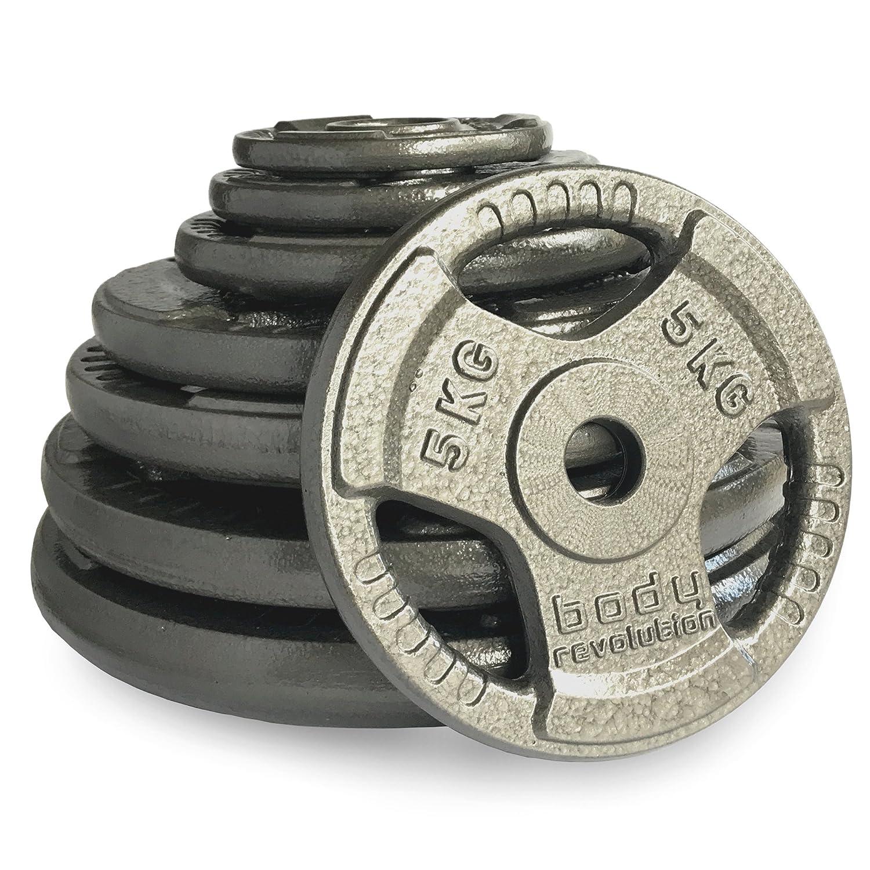 """Body Revolution 1"""" Tri Griff hantelscheiben - Gusseisen Gewichteheben Discs 1,25 kg bis 25kg"""