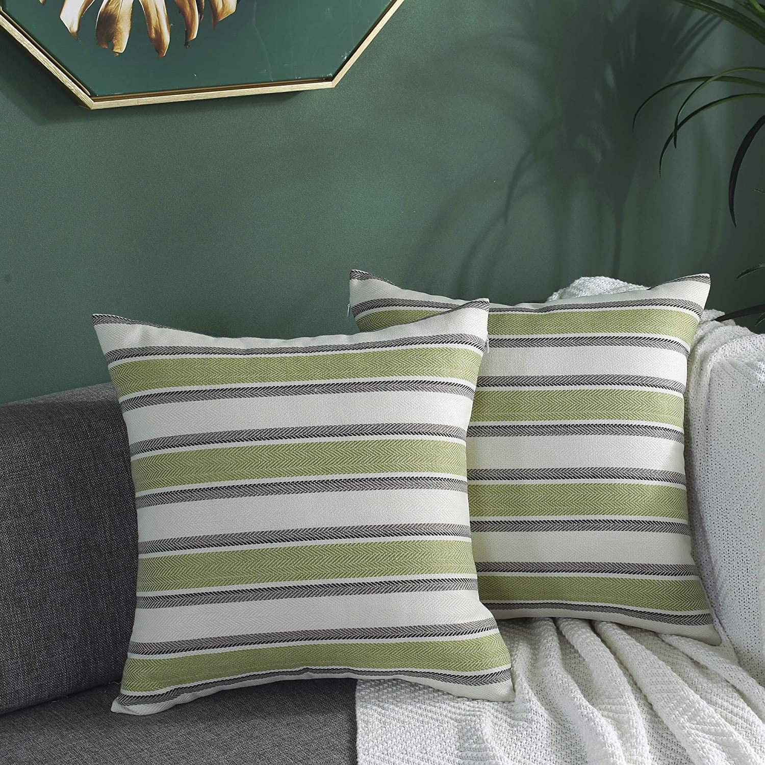 TAOSON Set of 2,Multi Color Stripe Lined Linen Burlap Square Home Decorative Throw Cushion Cover Pillow Cover Pillowcase with Hidden Zipper Closure Only Cover No Insert 16x16 Inch 40x40cm Green