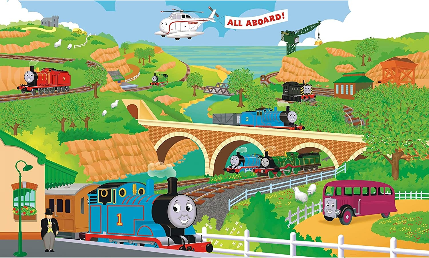 Amazon Com Roommates Yh1415m Thomas The Train Water Activated Removable Wall Mural 15 Ft X 9 Ft Home Improvement