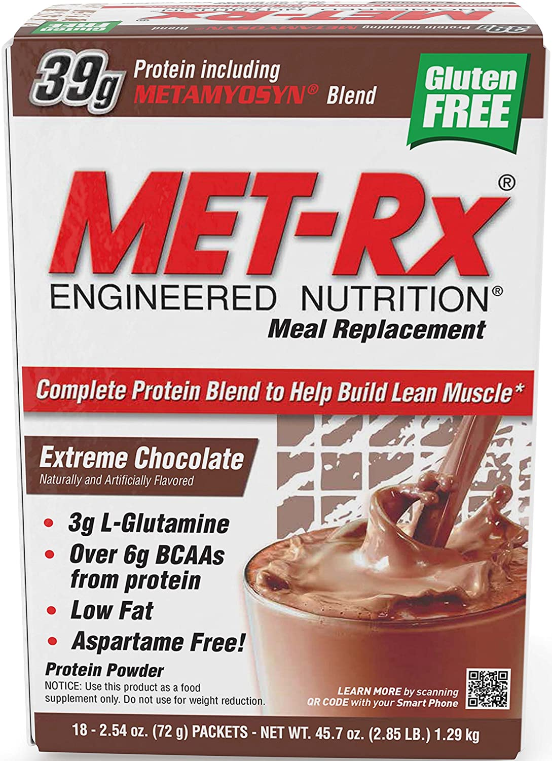 MET-Rx Original Whey Protein Powder, Great for Meal Replacement Shakes, Low Carb, Gluten Free, Extreme Chocolate, 2.54 oz. Packets, 18 Count