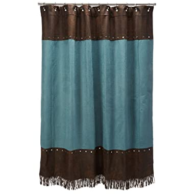 HiEnd Accents Cheyenne Western Shower Curtain, Turquoise