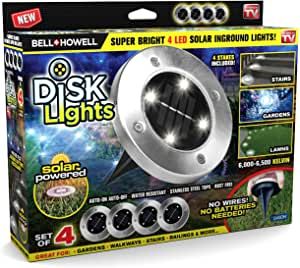Bell + Howell Disk Lights Brushed Steel – Heavy Duty Outdoor Solar Pathway Lights – 4 LED, Auto On/Off, Water Resistant, with Included Stakes, for Garden, Yard, Patio and Lawn - As Seen on TV