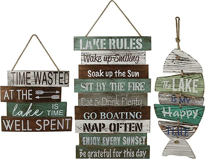 Wooden Sign Vintage Country Decor The Lake is My Happy Place Wooden Sign, Times Wasted At The Lake is Time Well Spent Wooden Sign, Wood Lake Rule Wall Sign, Wood Sign Rustic Vintage Country Primitive