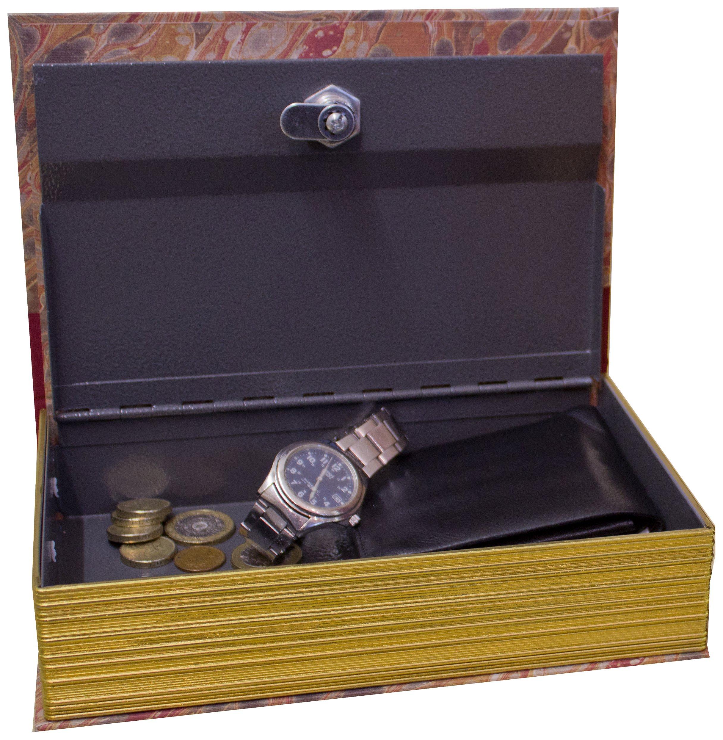 Original Book Works US127T Reproduction Antiqued Faux Leather Hidden Book Safe, ''PARIS'', Tan
