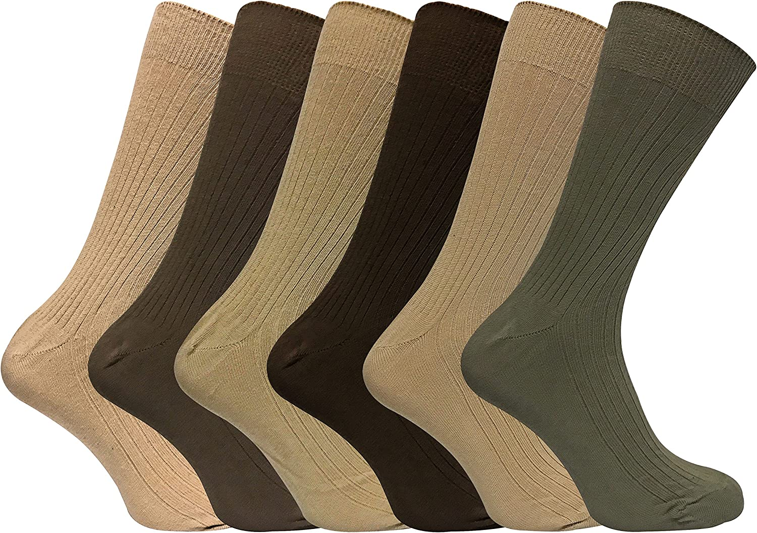 Mens 6 Pack Thin 100% Cotton Lightweight Breathable Ribbed Crew Dress Socks