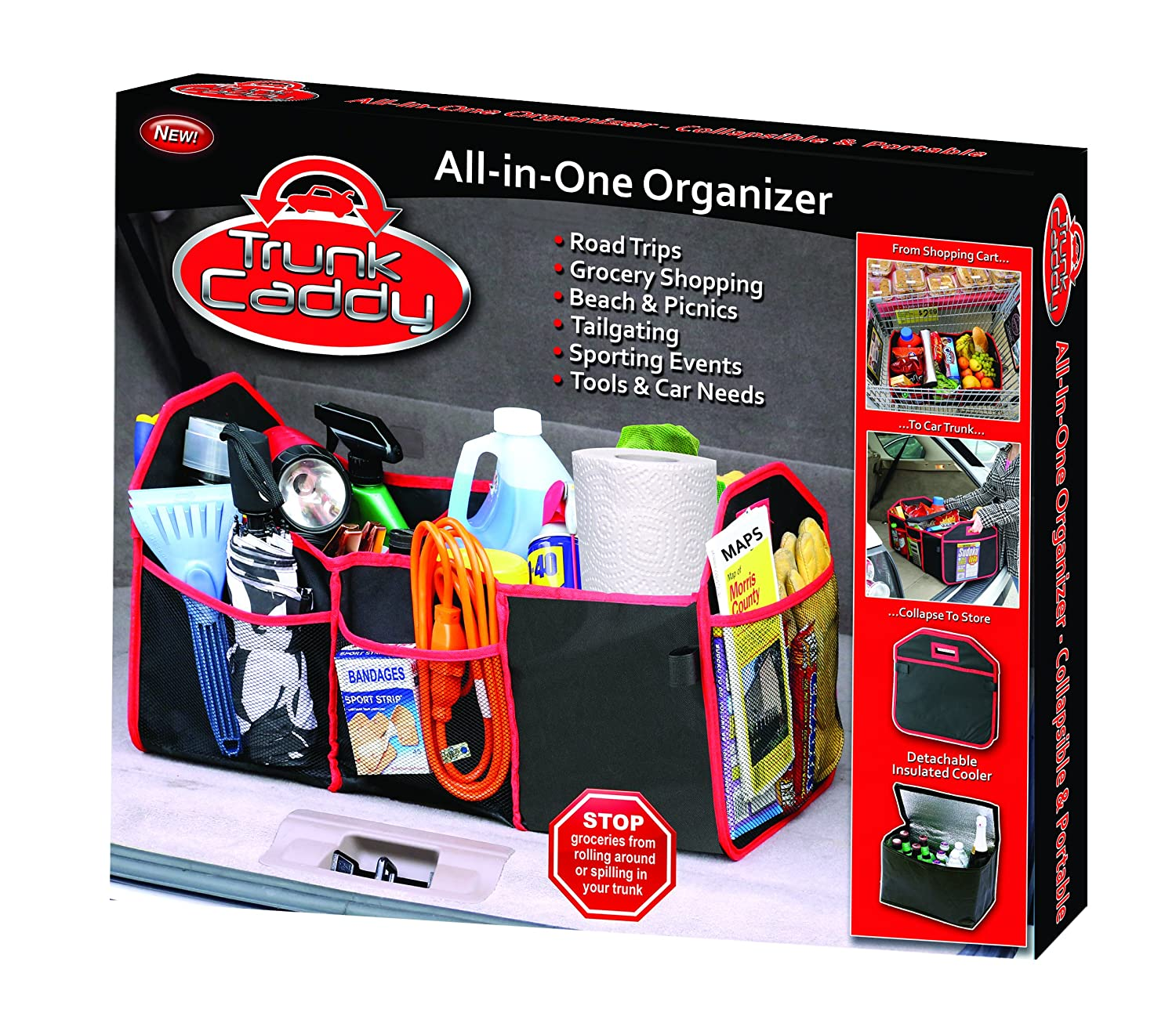 As Seen On TV TC-12 Black with Red Trim Trunk Caddy All-in-One Trunk Organizer with Hot and Cold Storage Pouch